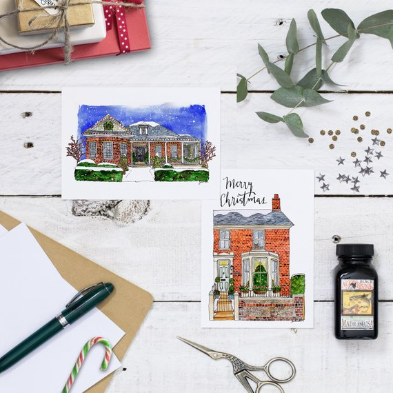 House Portrait Christmas Cards by Jen Russell Smith