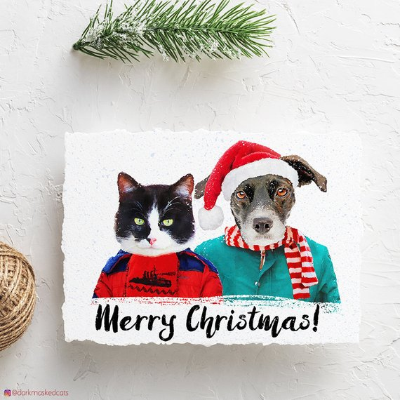 Custom Pet Christmas Cards by Dark Masked Cats
