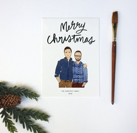 Custom Illustrated Couple Holiday Card by Public House Co