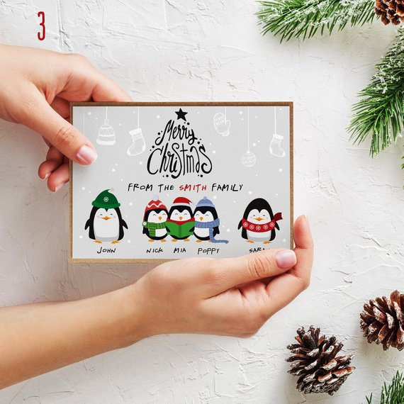 Personalized Penguin Family Christmas Cards by P.S. Ness