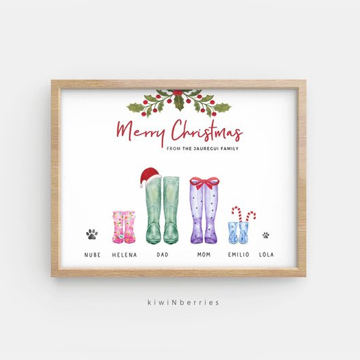 Custom Family Boots Christmas Card by KiwiNBerries