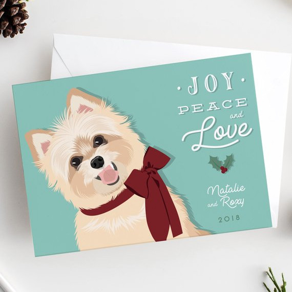 Dog Holiday Card with Custom Pet Portrait by Miss Design Berry Inc