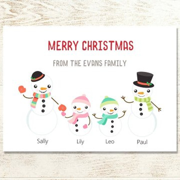 Custom Snowman Family Christmas Card by Lily and Tom