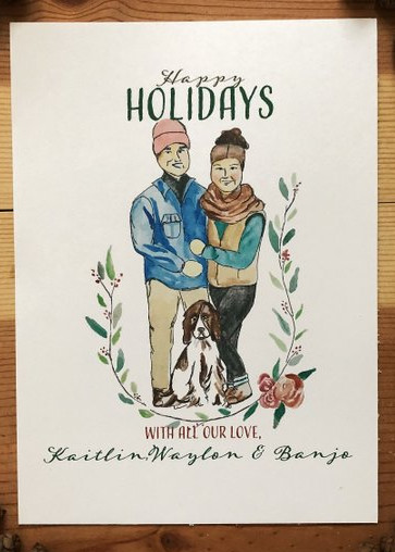 Custom Watercolor Holiday Card by Wood and Water Co