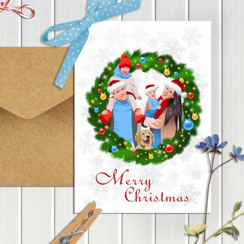 Custom Christmas Family Card by Enyoda Art