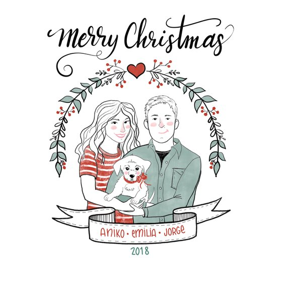Family Portrait Holiday Card by Borolina