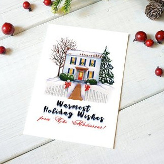 Custom House Christmas Card by The Watercolor Atelier