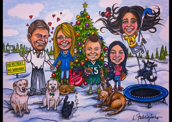 Custom Caricature Christmas Cards by Laughing Pencils Art