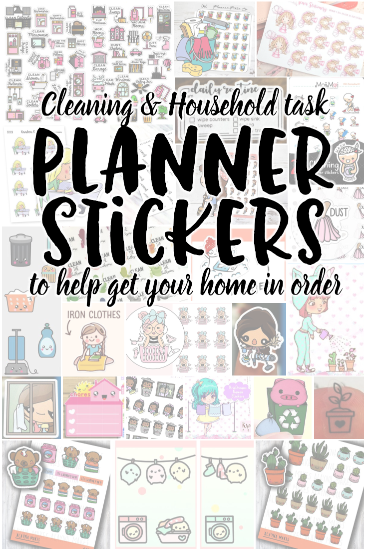 These planner stickers will help you get it together around the house. Cleaning stickers for your planner, laundry reminders, etc. Mark the days you want to complete tasks, or mark the days tasks were last complete. Get your life together with these cleaning planner stickers.