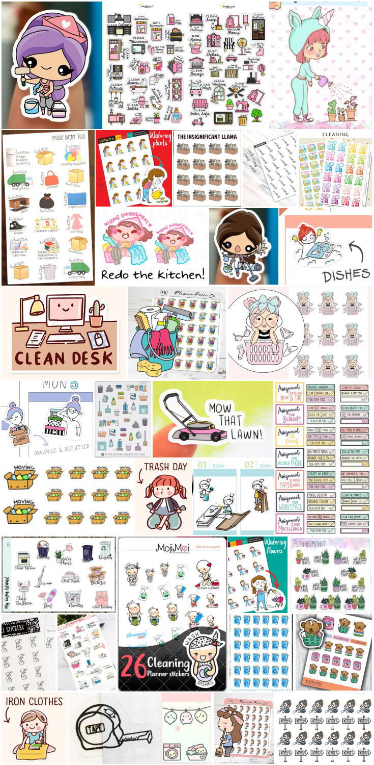 Want to get your life in order and keep track of it all? Use these amazing handmade planner stickers to get and stay organized at home. Decluttering planner stickers, cleaning planner stickers, reminder planner stickers (for things like trash day, laundry day, etc.) and other awesome household stickers to use in your beloved planner. Great for any planner!