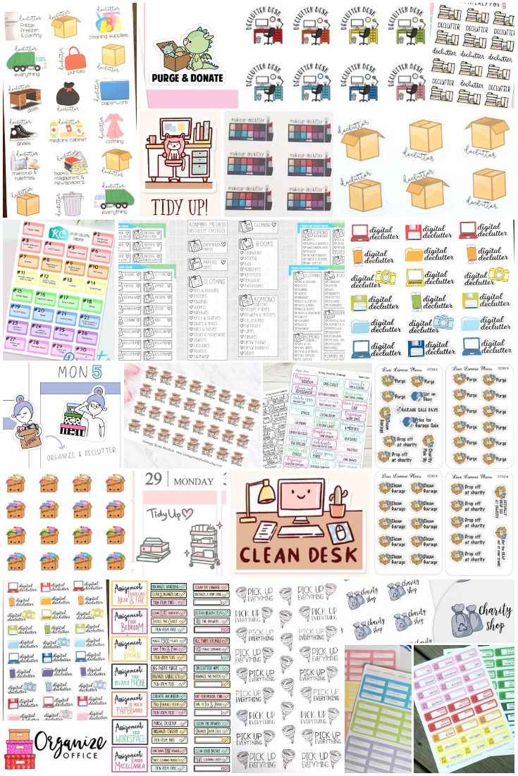 Planner Stickers that will help you organize and declutter. Clean desk, tidying up, spark joy, purge, donate, toss, sell, get organized, declutter, stickers, planner supplies, planner stickers.