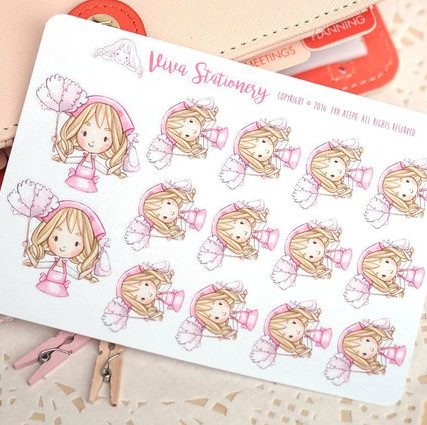 Planner stickers featuring a blonde kawaii girl wearing a pink apron and holding a pink duster and spray bottle. cleaning planner stickers.