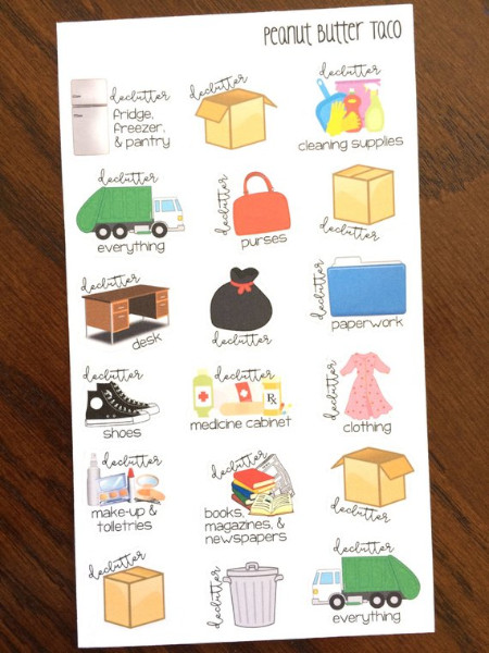 Declutter Planner Stickers from Peanut Butter Taco on Etsy
