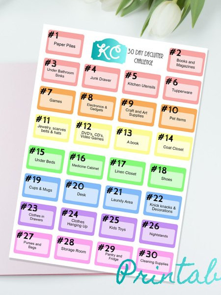 30 Day Declutter Challenge Stickers by Kindred Creations on Etsy