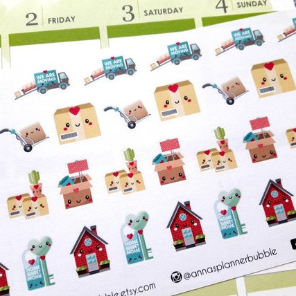 Moving Out Stickers by Anna's Planner Bubble - kawaii planner stickers showing houses, keys, moving boxes, dollies, and more.