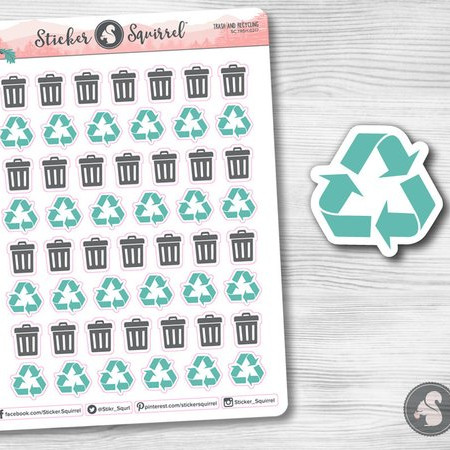 Trash & Recycling Stickers by Sticker Squirrel featuring gray trash can icon stickers and teal recycling planner stickers