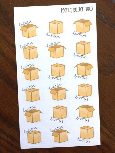 Declutter planner stickers showing boxes for decluttering.