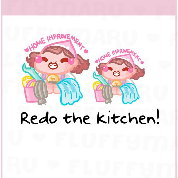 Home Improvement Sammie Stickers by FluffyMaru Designs - planner stickers showing a cute girl working on home improvement