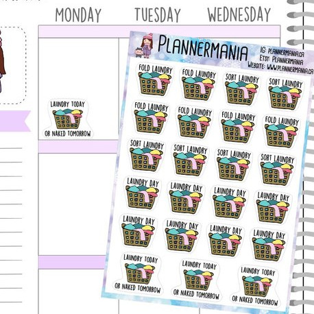 Laundry Stickers by Planner Mania featuring a laundry basket with the words Laundry Today or Fold Laundry or Sort Laundry