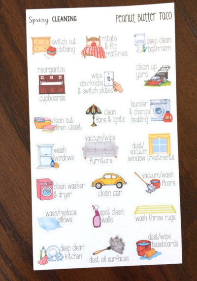 Spring Cleaning Stickers by Peanut Butter Taco