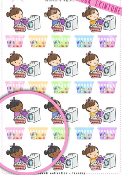 Kawaii Laundry Time Stickers from Sticker Fever featuring a chibi girl with customizable skin color folding laundry out of the dryer and rainbow laundry baskets