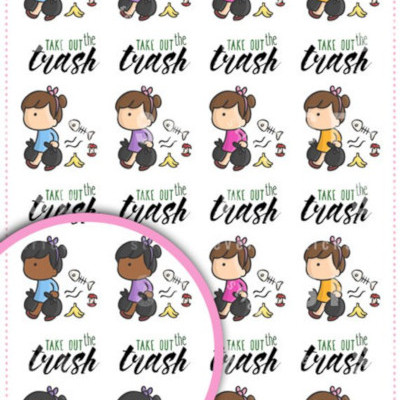 Kawai girl taking out the trash planner stickers changable skin color