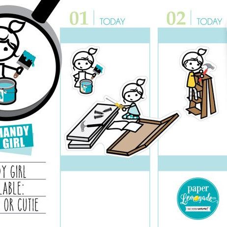 Handy Girl Planner Stickers by Paper Lemondade Co - planner stickers featuring a cute girl fixing stuff and painting