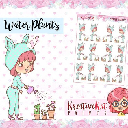 Kawaii Water Plants Stickers by Kreative Kat Prints showing an adorable kawaii girl wearing a unicorn outfit watering plants.