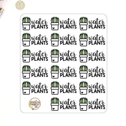 Water Plants Planner Stickers by Paisley Prints Co featuring cute little plants with hearts on their pots and the words water plants