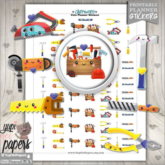 Carpentry Stickers by Yupi Yei Stickers - planner stickers showing kawaii carpentry and home repair tools like a saw, hammer, pliers, and more.