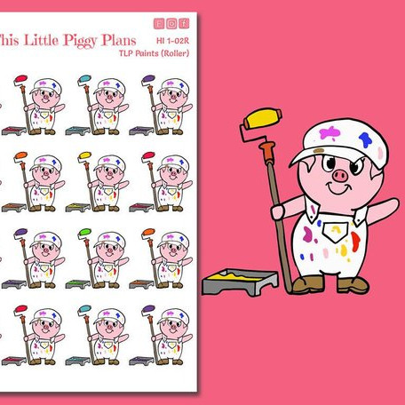 Pig Paint Roller Stickers by This Little Piggy Plans - Planner stickers showing a cute piggy in paint clothes holding a paint roller with different colored paint on each one