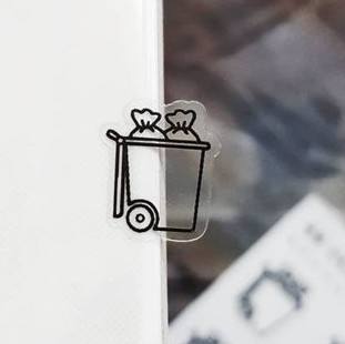 Clear Trash Icon Stickers by Honey Inked featuring clear stickers with an open trash can.