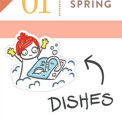 Dishes Planner Stickers featuring a cartoon girl with red hair wearing yellow rubber gloves and a sink full of water and dishes.
