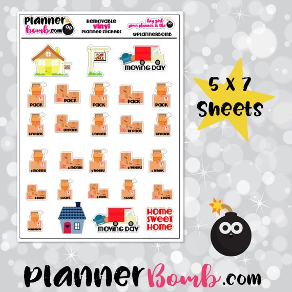 Vinyl Moving Stickers by Planner Bomb planner stickers featuring moving boxes, moving trucks, and more