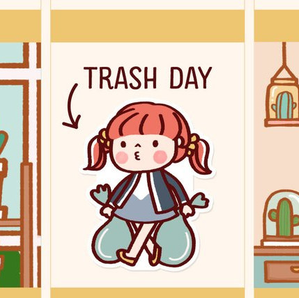 Cute Trash Day Stickers by Happy DAYA Stickers featuring a cute redhead with pigrails taking out two bags of trash