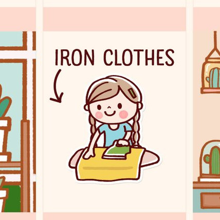 Iron Clothes Planner Sticker by Happy DAYA Stickers featuring a cute girl with braids ironing