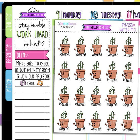Water Me Plant Stickers from Oh Hello Michelle - planner stickers to remind you to water the plants showing a dead plant that is screaming water me!