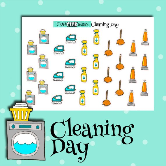Cleaning Day Planner Stickers by Sticker Geek Designs featuring cute cleaning icons like washing machines, spray bottles, dusters, and more.