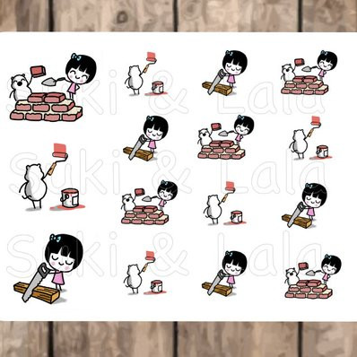 Home DIY Planner Stickers by Suki and Lala - Planner Stickers showing cute girl and her cat fixing things. Masonry, painting, sawing wood, etc.