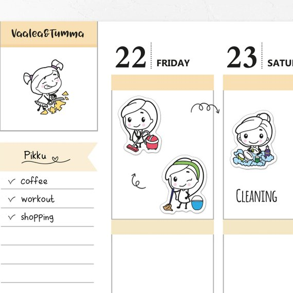Pikku Cleaning Planner Stickers by Vaalea & Tumma featuring a kawaii girl doing cleaning tasks like vacuuming, mopping, and dishes.