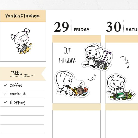Yard Work Planner Stickers by Vaalea & Tumma - chibi kawaii planner stickers showing a cute girl mowing the lawn with different mowers