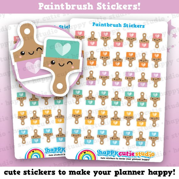 Kawaii Paintbrush Stickers by Happy Cutie Studio - planner stickers showing cute colorful kawaii paint brushes.