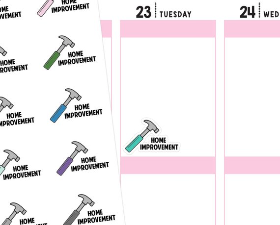 Home Improvement Stickers by Ninja Unicorn Creative - planner stickers showing colorful hammers and the words Home Improvement