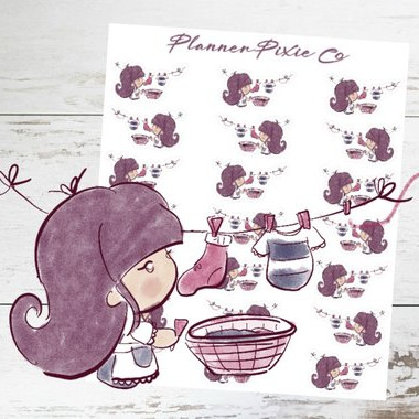 Planner Girl Laundry Stickers by Planner Pixie Co featuring a watercolor purple-haired girl hanging laundry on a clothesline