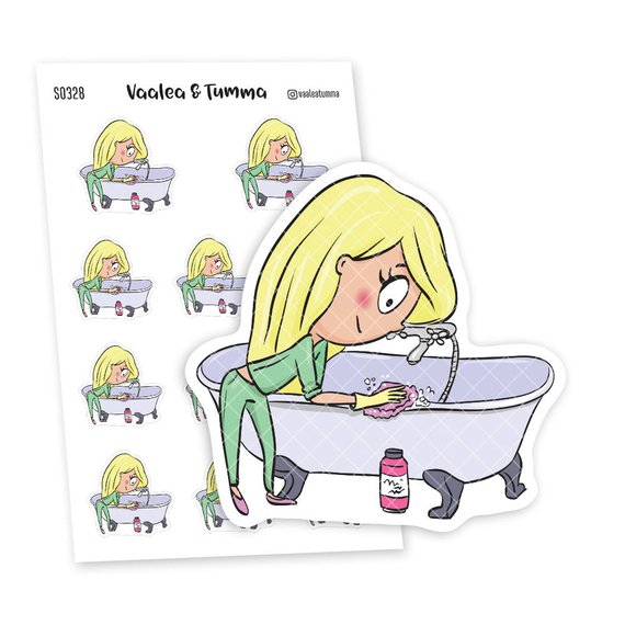 cleaning planner stickers featuring a cute kawaii blonde girl scrubbing the bathtub from Vaalea & Tumma
