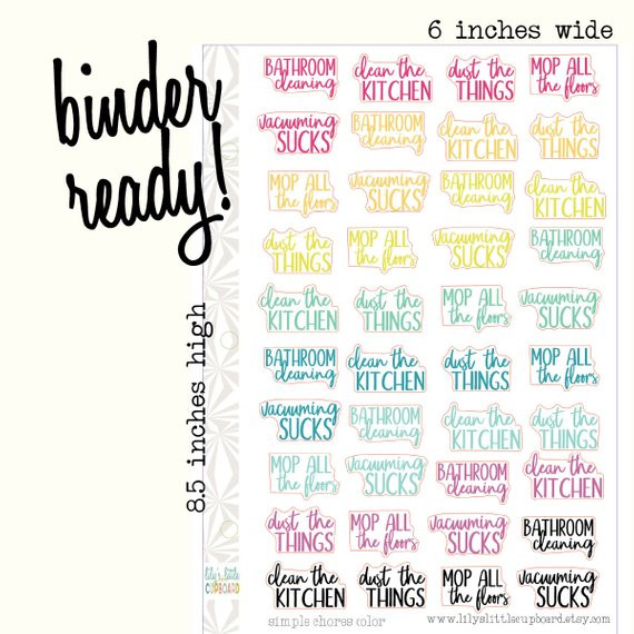 Colorful Cleaning Planner Stickers by Lily's Little Cupboard