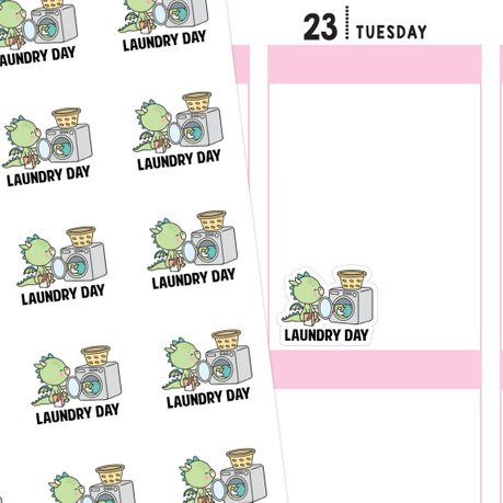 Laundry Day Dragon Stickers by Ninja Unicorn Creative