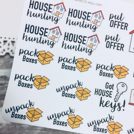 Moving Day Stickers by Sabai & Co - Planner stickers showing pack boxes, house hunting, unpack, got the keys, put in offer, home buying stickers moving stickers etc.
