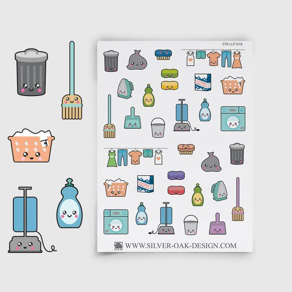 Kawaii Cleaning Planner Stickers featuring cute garbage cans, brooms, laundry baskets, dish soap, vaccuums, and more.