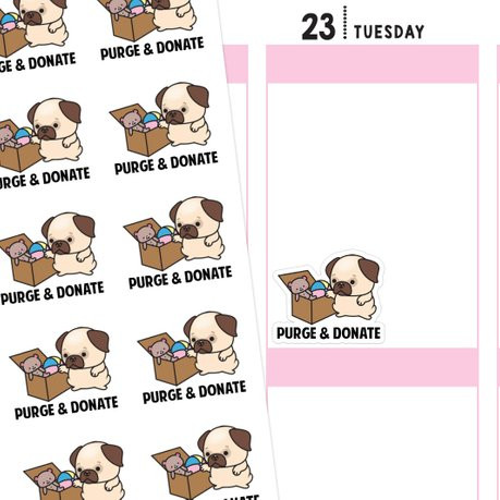 Purge & Donate Planner Stickers featuring a kawaii pug putting toys in a box to dejunk/declutter